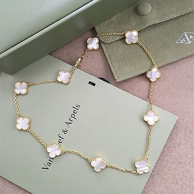 Auth*-Van Cleef & Arpels-Yellow Gold Alhambra 10 Mother-of-Pearl Motifs-Necklace