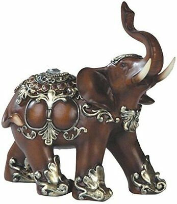 "Feng Shui Bronz Color 6"" Elegant Elephant Trunk Statue Wealth Lucky Figurine US"