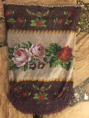 ANTIQUE Brown 1920s GLASS BEADED PURSE with FLOWERS Roses Needs Frame