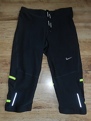 ladies nike lux dri fit cropped/capri running/gym/fitness tights,black,size M,