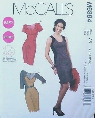 McCall's 6394 Ladies Dress Sewing Pattern Petite Misses Size 6 8 10 12 14
