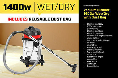 30L STAINLESS STEEL BAGLESS WET DRY VACUUM CLEANER VAC free delivery 10km of CBD