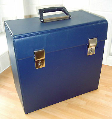 VINTAGE Vinyl Record Case - LP Album RECORD BOX Case  - BLUE Record Case