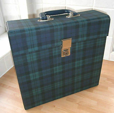 TARTAN Design VINTAGE Vinyl Record Case - LP Album RECORD BOX Case