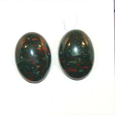 Bloodstone 13x18mm Cabochon with 5mm dome from India set of 2 (12510)