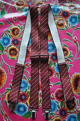 Vintage burgundy patterned braces suspenders with clip fastening