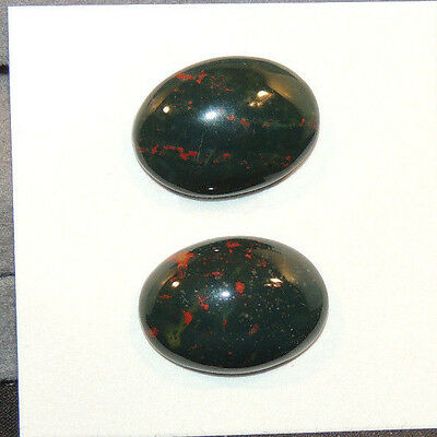 Bloodstone 13x18mm Cabochon with 5mm dome from India set of 2 (12511)