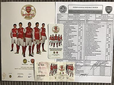 Malaysia v Arsenal Programme, Ticket Teamsheet & Pass 2011 Friendly In KL