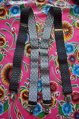 Vintage grey patterned braces suspenders with clip fastening