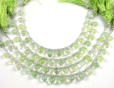 "1 Strand Natural Prehnite Faceted TearDrops Gems Briolette 13X8mm-10X6mm 7"" Long"