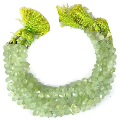 "1 Strand Natural Prehnite Twisted Tear Drops Briolette Gemstone 5X7mm 7"" Long"