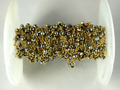 5 Feet Steel Pyrite Faceted Rondelle 3.5-4mm 24k Gold Plated Rosary Beads Chain