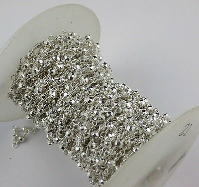 5 Feet Silver Pyrite Faceted 3.5-4mm 925 Silver Plated Rosary Beaded Chain