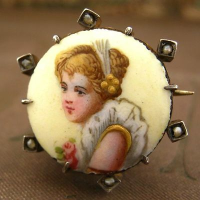 Antique French Painted Miniature Portait Brooch pendant