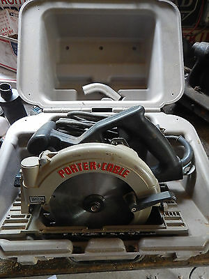USA MADE PORTER CABLE 743 LEFT HAND CIRCULAR SAW W/ CASE WRENCH NOZZLE c