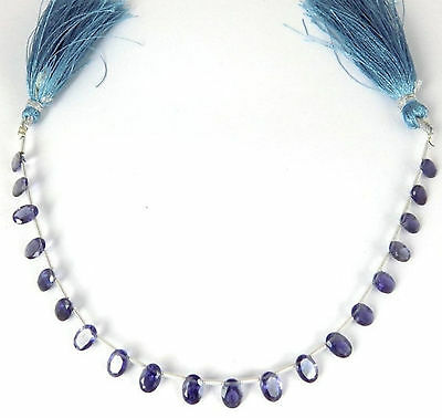 """1 Strand AAA Natural Blue Iolite Oval 5x7mm Normal Cut 8"""" Long Briolette Beads"""