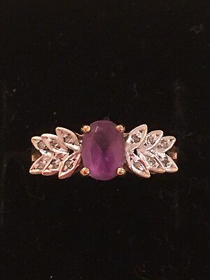 Vintage 9ct gold amethyst ring with genuine diamonds -Size N-As New