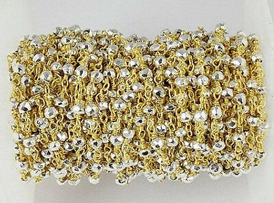 5 Feet Natural Silver Pyrite 3-4mm Faceted 24k Gold Plated Rosary Beaded Chain