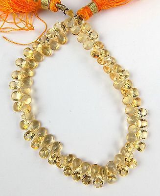 "1 Strand Natural Citrine Side Drilled Faceted Pear Shape 5x7mm Briolette 8"" Long"