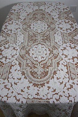 Vintage Large Linen Hand Worked Tablecloth Needle Lace Embroidery (486)