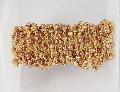 5 Feet Copper Pyrite Faceted 3-4mm Beaded Chain 24k Gold Plated Rosary Chain
