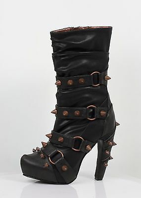 New Gothic/Steampunk/Cosplay Hades Bjorn Boots Black Heels Rock/Fetish Shoes