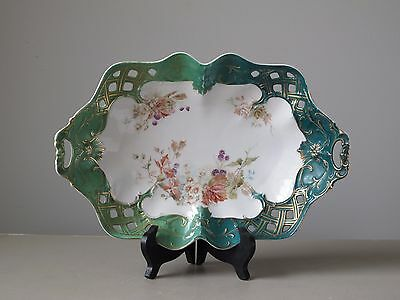 """Antique CT Carl Tielsch Germany Reticulated Porcelain Handled Oval Dish 13.5"""""""