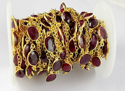 1 Feet Ruby Corundum Faceted 7x9-10x14mm Oval 24k Gold Plated Connector Chain