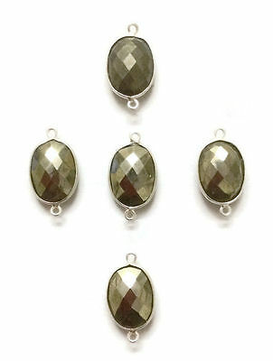 5 PCS Natural Pyrite Gemstone Bezel Connector 12x16mm 925 Silver Plated Faceted