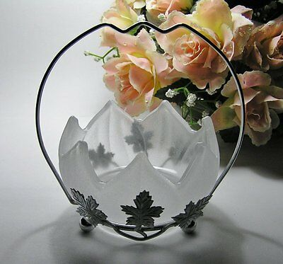 VINTAGE Frosted GLASS Jam DISH * Sugar BOWL in Chrome Stand ~ Made in England