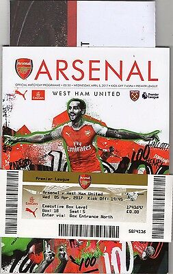 Arsenal v West ham United 2016-17 Mint Programme with Extras