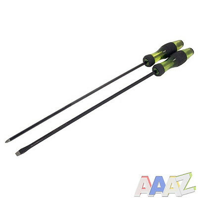 2pc 400mm EXTRA LONG REACH SCREWDRIVER SET Pz2 & 8mm Slotted Tips Blade Length