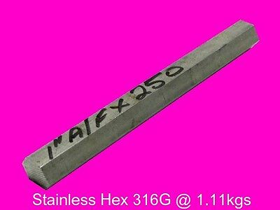 """Stainless Steel 1"""" A/F x 250 mm ( 316G )-Lathe-Mill-Steam"""