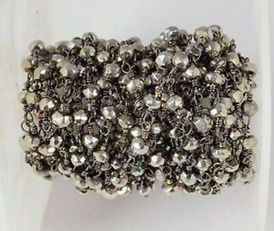 10 Feet Steel Pyrite Faceted Beads in Black Wire Rosary Beaded Chain Beads 3-4mm