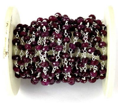 10 Feet Ruby Chalcedony 925 Silver Plated Gemstone Faceted Beaded chain 3-4mm
