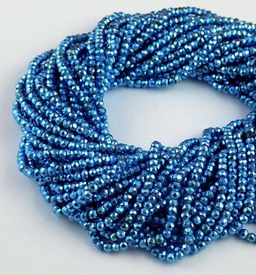 """5 Strand Swiss Blue Topaz Pyrite Faceted Gemstone Rondelle Beads 3.5-4mm 13""""Long"""