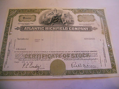 Old Stock Certificates 1 Share Atlantic Richfield Company Green A