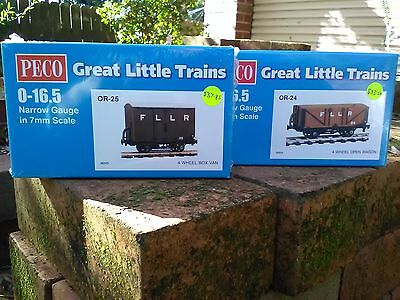 Peco OR24 O-16.5 open wagon kit and Peco OR25 Box van kit BNIB