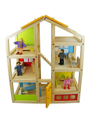 Classic Wooden Timber Doll House With Furniture Dolls And Figurines Aud Picclick Au