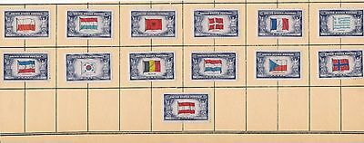 USA Stamps WWII Scott #909-921 5c Overun Countries Issue 1943 MINT