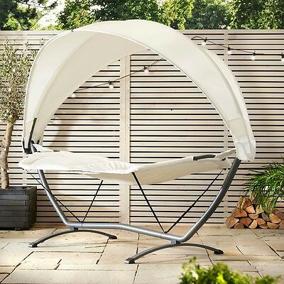 Hammock With Stand & Canopy Outdoor Garden Camping Travel Canvas Hang Bed Swing