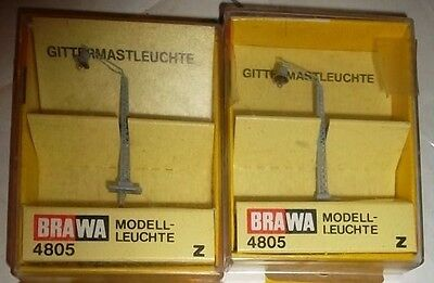 Z Scale 2 Brawa  4805 Street Lights New Old Stock Tested Working
