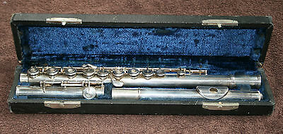 Vintage french flute c.1900 Boehm system by G. Deschamps + case