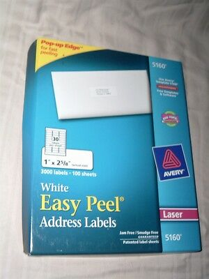 New Avery 5160 Laser White Easy Peel Labels 3000 Count