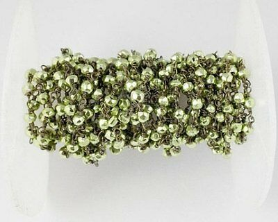10 Feet Green Pyrite Faceted Beads in Black Wire Rosary Style Wire Wrapped Beads