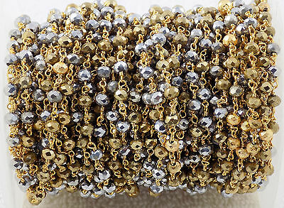 10 Feet Gold Pyrite & Silver Pyrite Hydro Seed Beads Rosary Style Beaded Chain