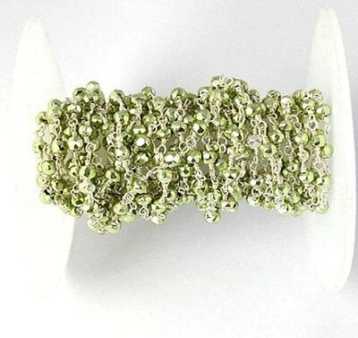 10 Feet Green Pyrite Faceted Beads 925 Silver Plated Rosary Wire Wrapped Beads