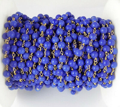 10 Feet Lapis Stablized Smooth Round Ball Style 24k Gold Plated Rosary Chain