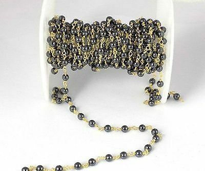 5 Feet Natural Hematite Smooth 4-4.5mm 24k Gold Plated Rosary Beaded Chain