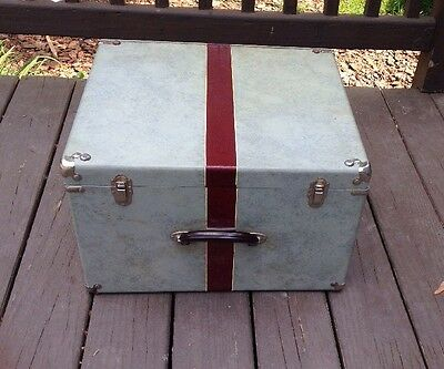 Vintage NEWCOMB wood square trunk with quilted cover 6 latches gray maroon